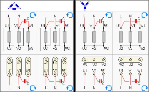 Schema conversione motore trifase monofase